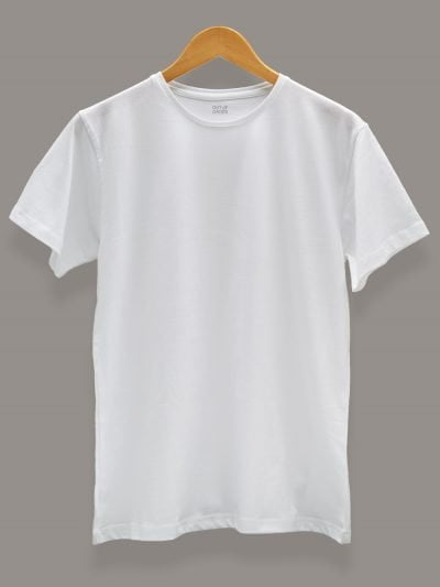 Men's White T-shirt. Round Neck and Half Sleeves