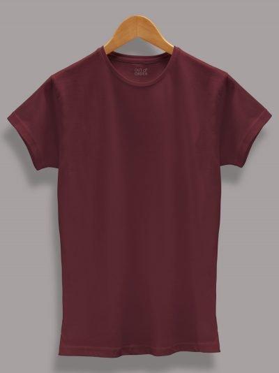 Women's Burgundy T shirt plain, round neck and half sleeves
