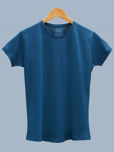 Buy Teal Blue T-shirt Women's plain displayed on a hanger