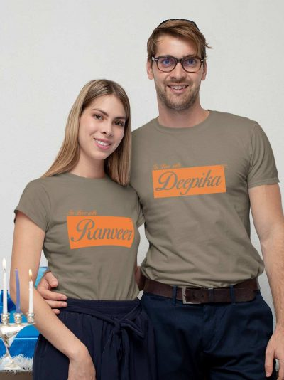 Shop now, man and woman cuddling wearing Couple T-shirt with Name