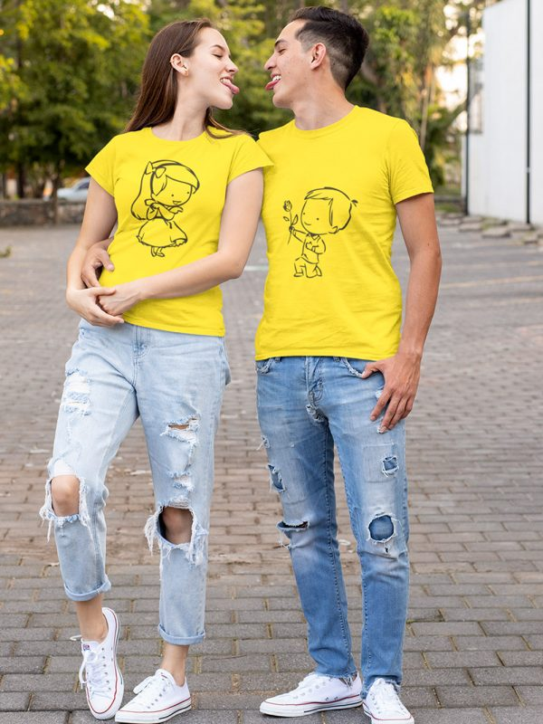 man and a woman wearing cute proposal couple t-shirt, looking at each other making cute faces
