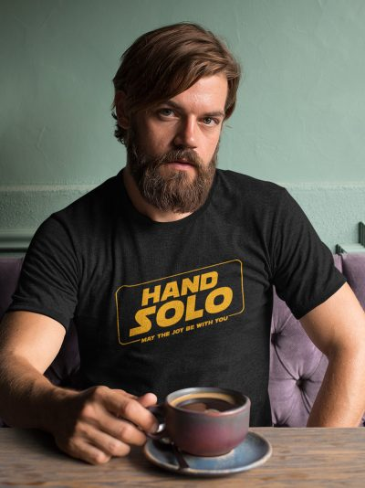 sitting man wearing Hand Solo Men's T-shirt for sale