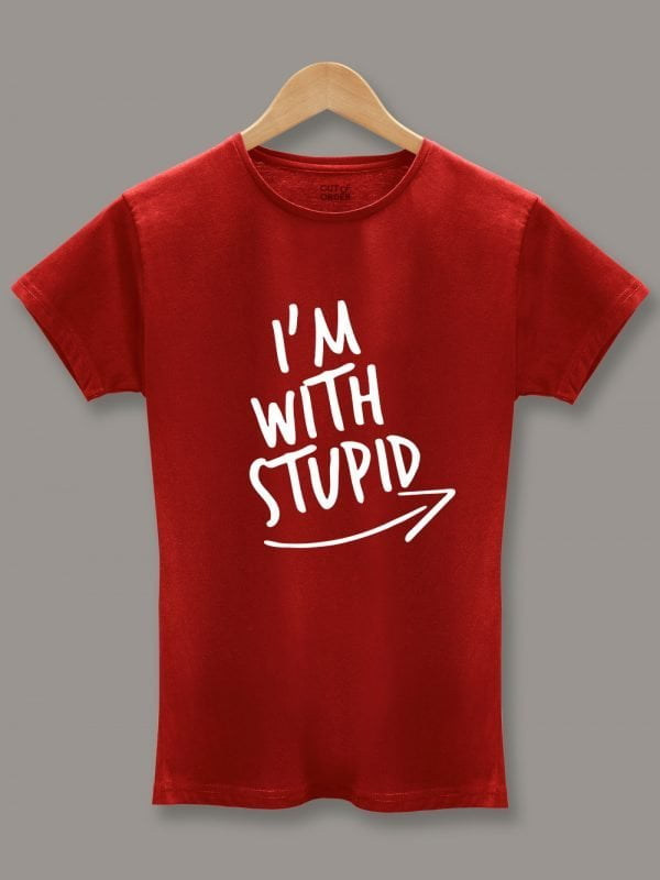 I am with stupid Red Couple T-shirt 2