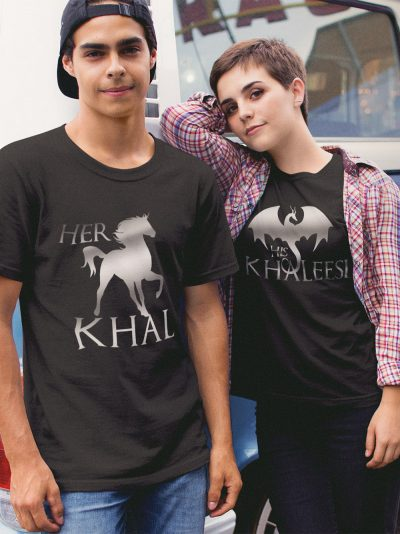 man and woman standing close wearing Khal Khaleesi T-shirts for Couples