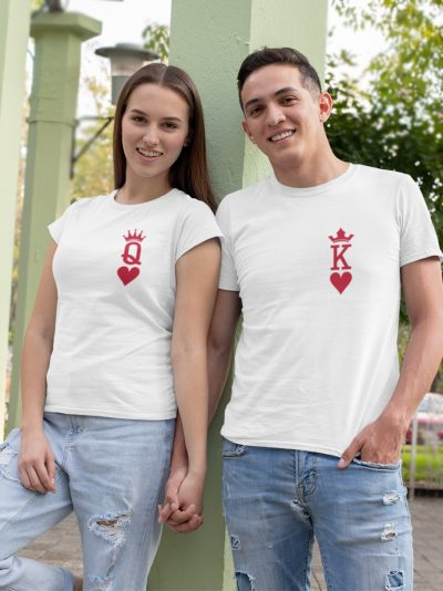 man and woman holding hands wearing King and Queen of Hearts T-shirt