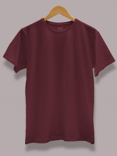 Men's burgundy t shirt plain, round neck and half sleeves