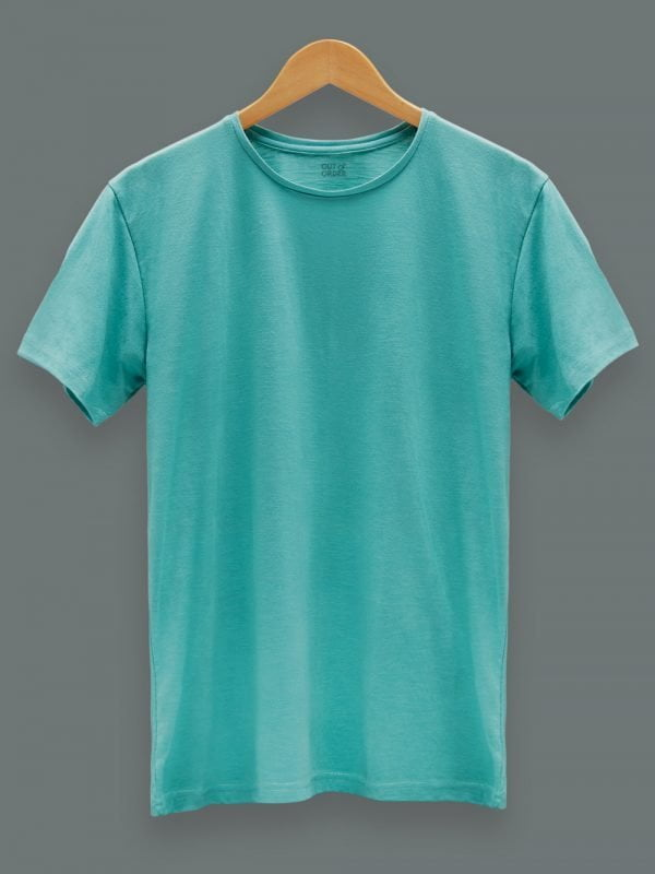 Men's Green T-shirt Plain, Round Neck and Half Sleeves
