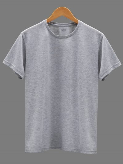 Men's grey t-shirt plain, round neck and half sleeves