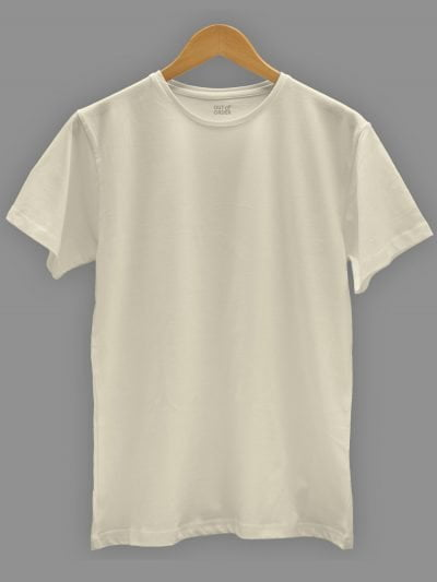 Men's off white t-shirt plain, round neck and half sleeve