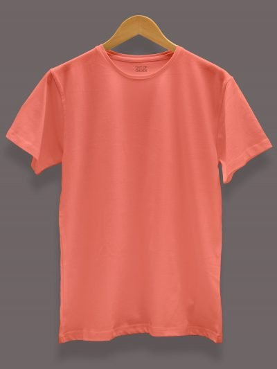Men's orange t-shirt plain, round neck and half sleeves