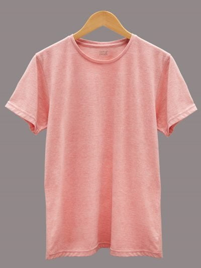 Men's Pink T-shirt plain, round neck and half sleeves