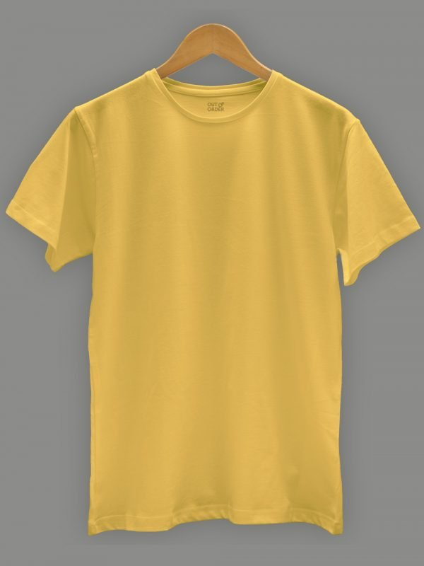 Men's Yellow t-shirt plain, round neck and half sleeves