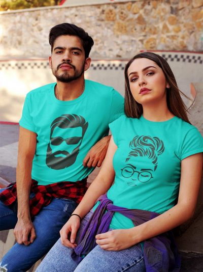 Couple wearing Modern Couple T-shirt, available for sale.