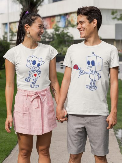 man and woman holding hand wearing robot love couple t-shirt