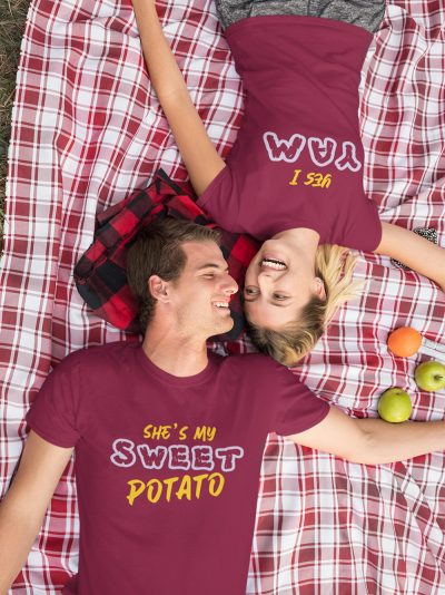 man and woman wearing She's my sweet potato t shirt for couple