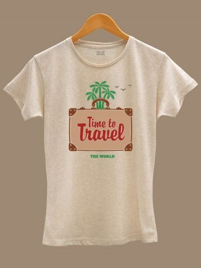 Buy time to travel t-shirt women's, displayed on a hanger