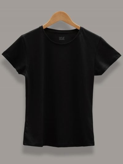 Buy Women's Black T-shirt Plain Displayed on a Hanger