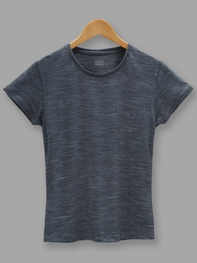 women's dark grey t-shirt. Round Neck and half sleeves.