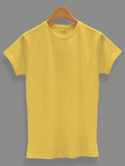 buy women's yellow t shirt Plain, Round Neck and Half Sleeves.