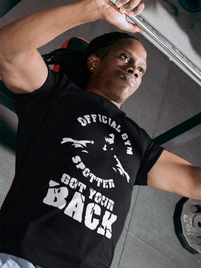 Man wearing Gym Spotter T-shirt and lifting a bar