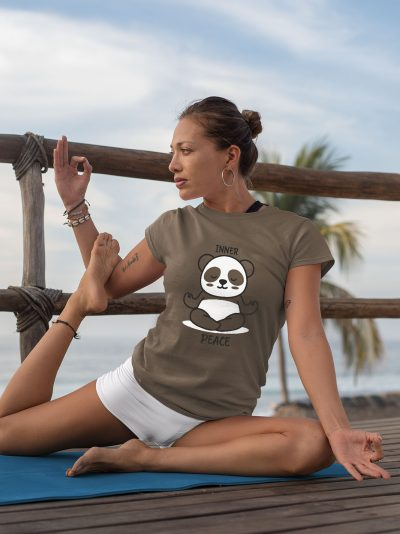woman in a yoga pose wearing Inner Peace T-shirt