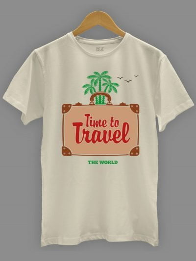 Time to Travel T-shirt for men on a hanger