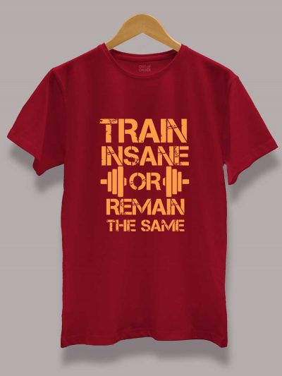 Men's Train Insane or Remain the Same T-shirt on a hanger