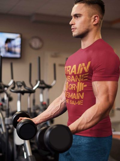 MAn in the gym wearing Train Insane or Remain the Same T-shirt