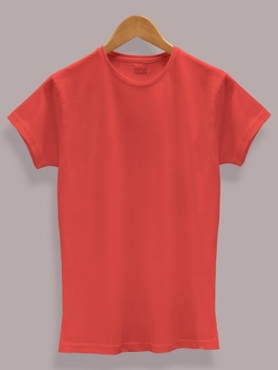 Women's Red T-shirt Plain, Round Neck and Half Sleeves for sale