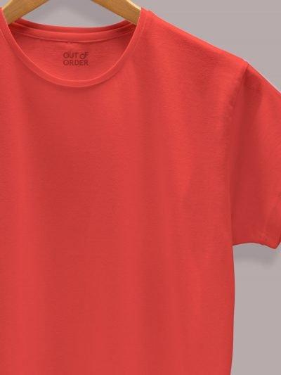 Women's Red T-shirt Plain, close up