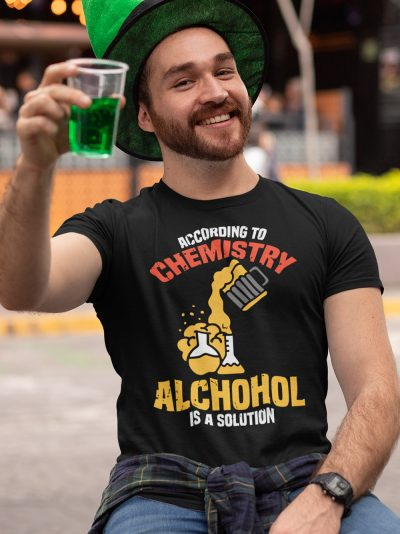 man wearing alcohol is a solution t-shirt and smiling