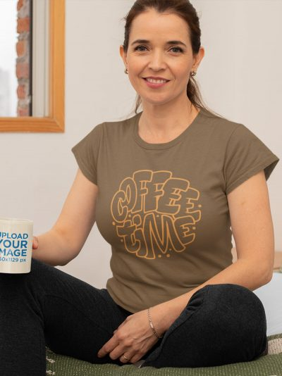 woman wearing Coffee Time T-shirt, holding coffee mug