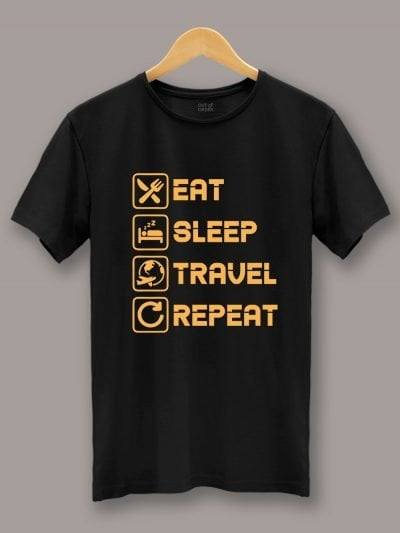 Eat Sleep Travel Repeat T-shirt for Men on a hanger