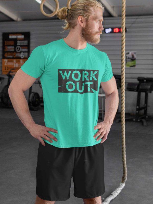 Man wearing gym workout t-shirt for men