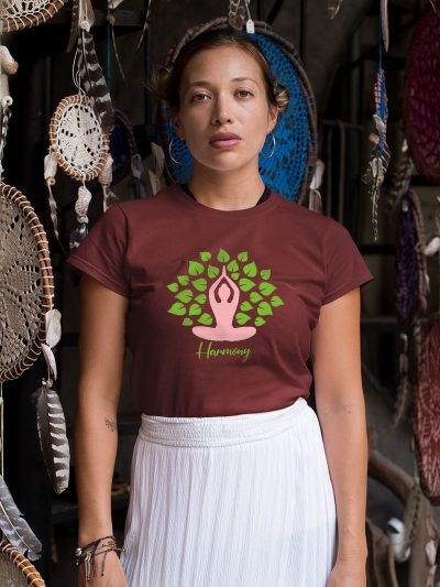 woman wearing Harmony T-shirt in a simple standing pose