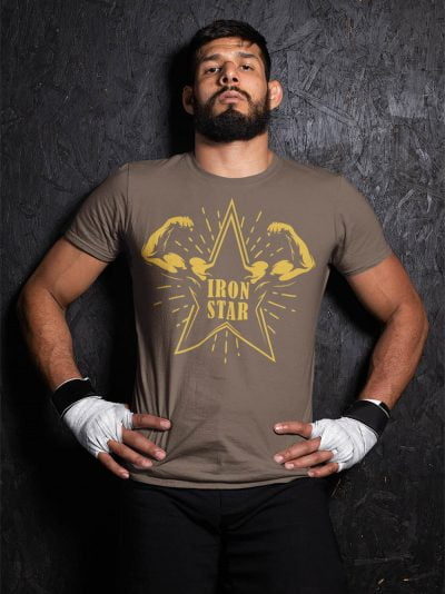 Man wearing Iron Star Gym T-shirt and striking a pose with attitude.
