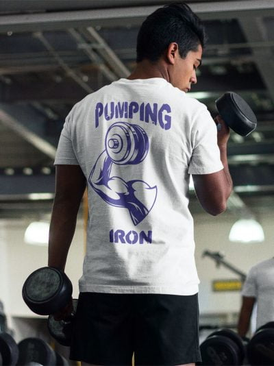 man wearing Pumping Iron T-shirt and lifting weights