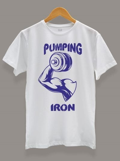 Pumping Iron T-shirt displayed on a hanger available for sale