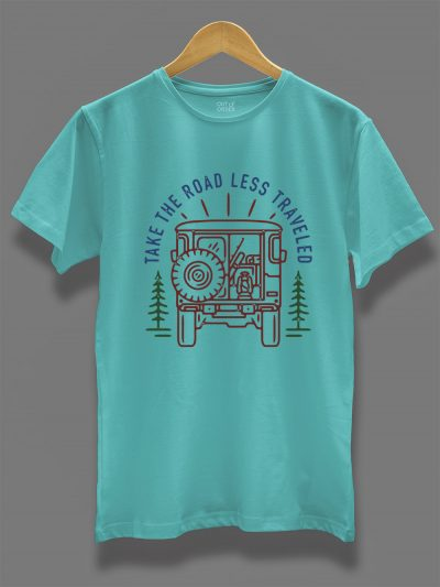 take the road less traveled t-shirt for men on a hanger