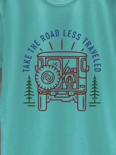 close up of take the road less traveled t-shirt design