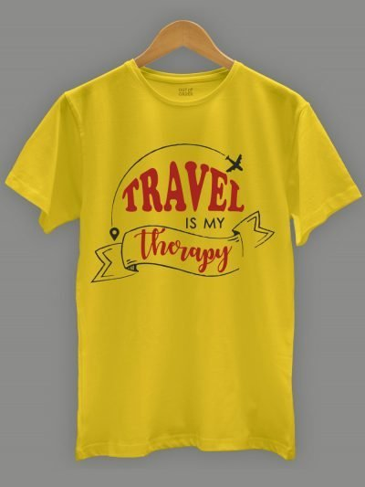 travel is my therapy t-shirt for men on a hanger