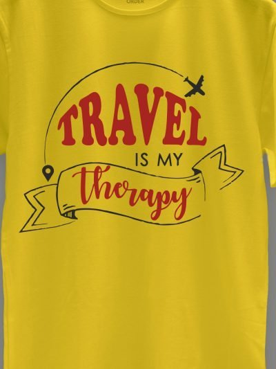 close up of travel is my therapy t-shirt design