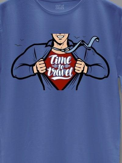 close up of men's blue Travel Superhero T-shirt