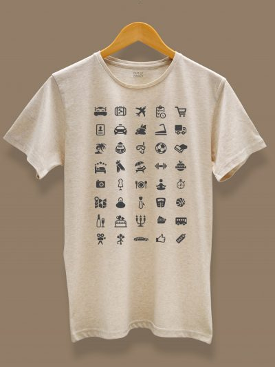 men's travel t-shirt with 40 icons on a hnager