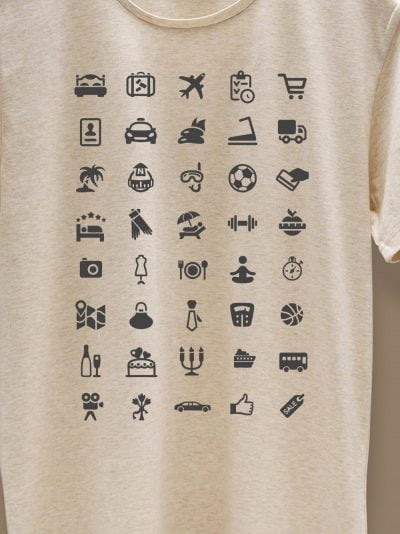 close up of travel t-shirt with 40 icons