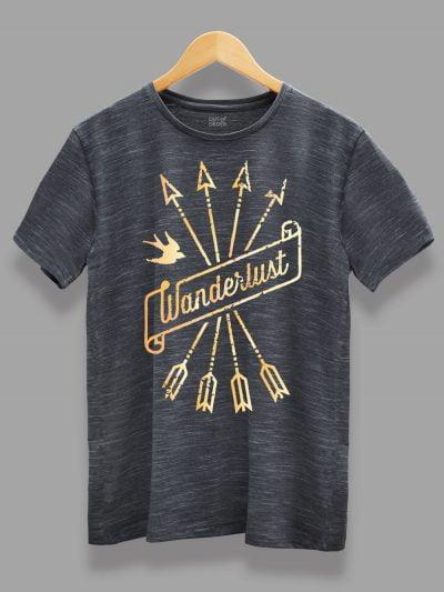 Wanderlust T-shirt for men on a hanger