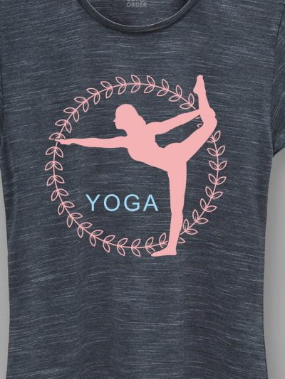 close up of women's dark grey Yoga Pose T-shirt