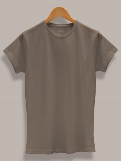 Women's Dirty Grey T-shirt plain, round neck and half sleeves