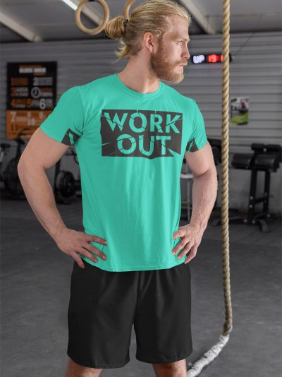 man posing in a gym wearing Work Out T-shirt