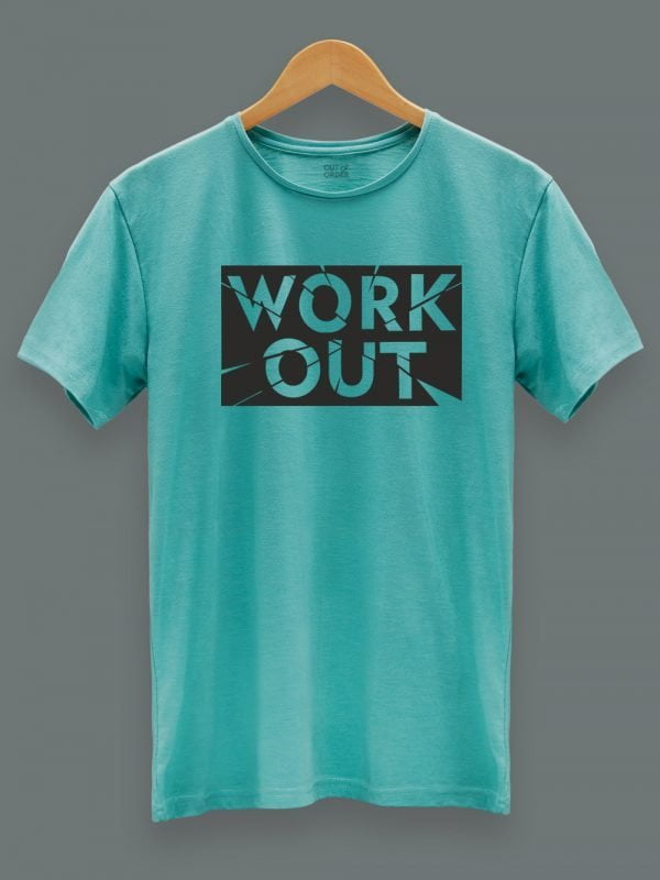 gym workout t-shirt for men displayed on a hanger